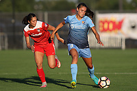 Piscataway, NJ - Friday August 04, 2017: Arielle Ship, Erica Skroski during a regular season National Women's Soccer League (NWSL) match between Sky Blue FC and the Washington Spirit at Yurcak Field.