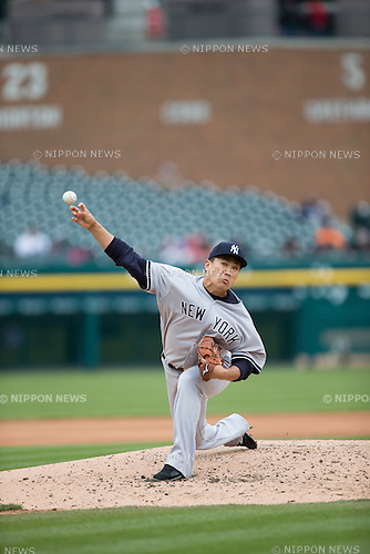 Masahiro Tanaka (Yankees),<br /> APRIL 23, 2015 - MLB : Masahiro Tanaka of the New York Yankees pitches against the Detroit Tigers during a Major League Baseball game at Comerica Park in Detroit, Michigan, United States.<br /> (Photo by Thomas Anderson/AFLO) (JAPANESE NEWSPAPER OUT)