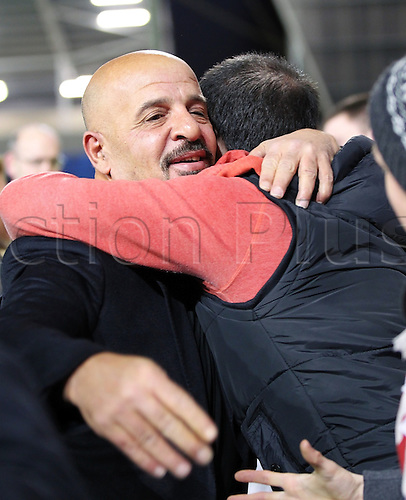 01.02.2013 Manchester, England.  New Salford City Reds owner Dr Marwan Koukash walks around the pitch and meets supporters before the Rugby Super League game between Salford City Reds and Wigan Warriors from the Salford City Stadium...