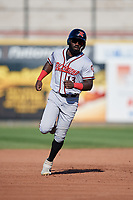 Richmond Flying Squirrels Jacob Heyward (13) running the bases during an Eastern League game against the Erie SeaWolves on August 28, 2019 at UPMC Park in Erie, Pennsylvania.  Richmond defeated Erie 6-4 in the first game of a doubleheader.  (Mike Janes/Four Seam Images)