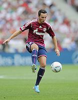 FUSSBALL   1. BUNDESLIGA  SAISON 2011/2012   1. Spieltag     06.08.2011 VfB Stuttgart - FC Schalke 04               Marco Hoeger (FC Schalke 04) am Ball