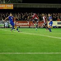 GOAL - Brentford's Justin Shaibu scores during the Carabao Cup match between AFC Wimbledon and Brentford at the Cherry Red Records Stadium, Kingston, England on 8 August 2017. Photo by Carlton Myrie.