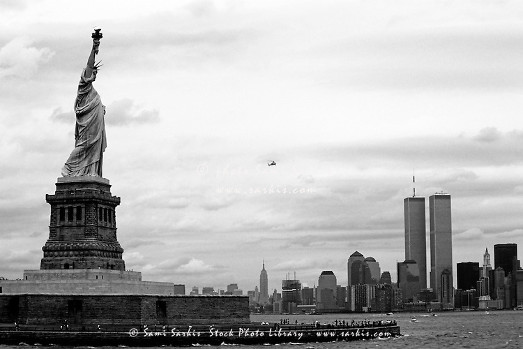 Tourists visiting the Statue of Liberty, New York City, New York, USA.