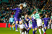 5th December 2017; Glasgow, Scotland; Lukasz Teodorczyk forward of RSC Anderlecht wins a header from a corner during the Champions League Group B match between Celtic FC and Rsc Anderlecht