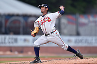 Rome Braves pitcher Oriel Caicedo (19) during a game against the Asheville Tourists on May 15, 2015 in Asheville, North Carolina. The Braves defeated the Tourists 6-0. (Tony Farlow/Four Seam Images)
