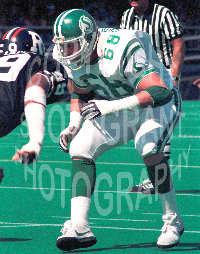 Laurie Skolrood Saskatchewan Roughriders lineman. Copyright photograph Scott Grant
