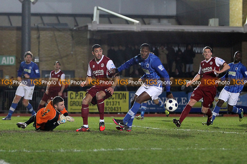 Kyle Vassell goes close to a goal for Chelmsford - Chelmsford City vs Billericay Town - Blue Square Conference South Football at Melbourne Park Stadium - 04/02/13 - MANDATORY CREDIT: Gavin Ellis/TGSPHOTO - Self billing applies where appropriate - 0845 094 6026 - contact@tgsphoto.co.uk - NO UNPAID USE.