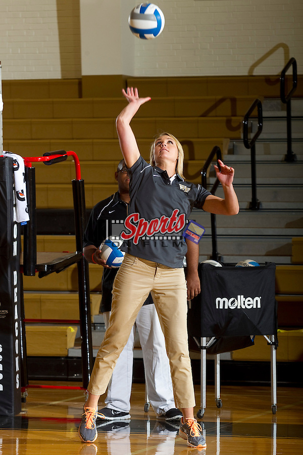 Wake Forest Demon Deacons assistant coach Abbey Worrell prior to the match against the Davidson Wildcats in Reynolds Gymnasium on September 1, 2012 in Wake Forest, North Carolina.  The Demon Deacons defeated the Wildcats 3-2.   (Brian Westerholt / Sports On Film)