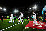 Players of Real Madrid go to the field during La Liga match between Real Madrid and Athletic Club de Bilbao at Santiago Bernabeu Stadium in Madrid, Spain. December 22, 2019. (ALTERPHOTOS/A. Perez Meca)