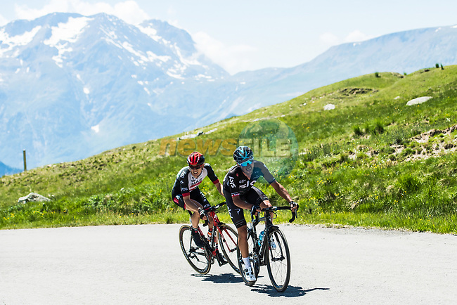 Peter Kennaugh Team Sky and Ben Swift (GBR) UAE Team Emirates forge ahead on the slopes of Col de Sarenne during Stage 7 of the Criterium du Dauphine 2017, running 168km from Aoste to Alpe d'Huez, France. 10th June 2017. <br /> Picture: ASO/A.Broadway | Cyclefile<br /> <br /> <br /> All photos usage must carry mandatory copyright credit (&copy; Cyclefile | ASO/A.Broadway)