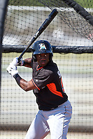 Miami Marlins Anfernee Seymour (98) before a minor league spring training game against the St. Louis Cardinals on March 31, 2015 at the Roger Dean Complex in Jupiter, Florida.  (Mike Janes/Four Seam Images)