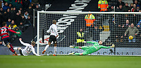 QPR Pawel Wszolek scoring second goal for his team during the Sky Bet Championship match between Fulham and Queens Park Rangers at Craven Cottage, London, England on 17 March 2018. Photo by Andrew Aleksiejczuk / PRiME Media Images.