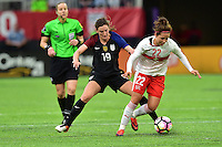 Minneapolis, MN - October 23, 2016: The U.S. Women's National team and Switzerland are all even 1-1 in first half action during an international friendly game at U.S. Bank Stadium.