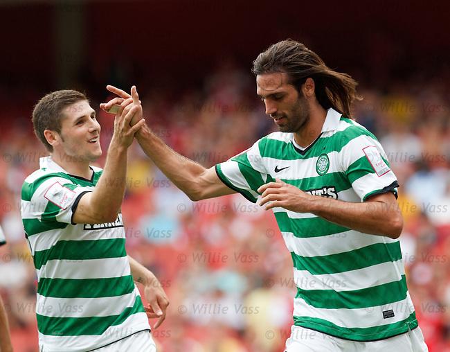 Georgios Samaras celebrates his goal with fellow Celtic scorer Gary Hooper