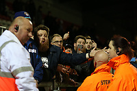 Hartlepool fans shout abuse at their players after Dagenham & Redbridge vs Hartlepool United, Vanarama National League Football at the Chigwell Construction Stadium on 6th January 2018