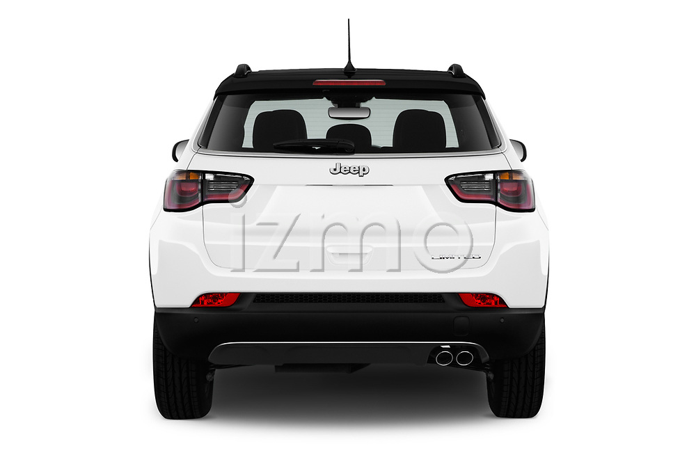 Straight rear view of a 2017 Jeep Compass Limited 5 Door SUV stock images