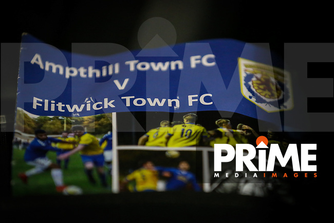 Matchday programme for the Ampthill Town v Flitwick Town match in the Beds Senior Trophy Quarter Final at Ampthill Stadium, Bedfordshire, England on 12 December 2015. Photo by David Horn/PRiME Media Images