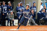 11 February 2012:  FIU's Kayla Burri (7) rounds first base after a hit as the University of Massachusetts Minutewomen defeated the FIU Golden Panthers, 3-1, as part of the COMBAT Classic Tournament at the FIU Softball Complex in Miami, Florida.