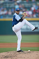 Charlotte Knights starting pitcher Jordan Guerrero (23) in action against the Indianapolis Indians at BB&T BallPark on April 27, 2019 in Charlotte, North Carolina. The Indians defeated the Knights 8-4. (Brian Westerholt/Four Seam Images)