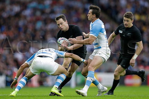 20.09.2015. London, England. Rugby World Cup. New Zealand versus Argentina.  Argentina full back Joaquin Tuculet tackles Argentina full back Joaquin Tuculet