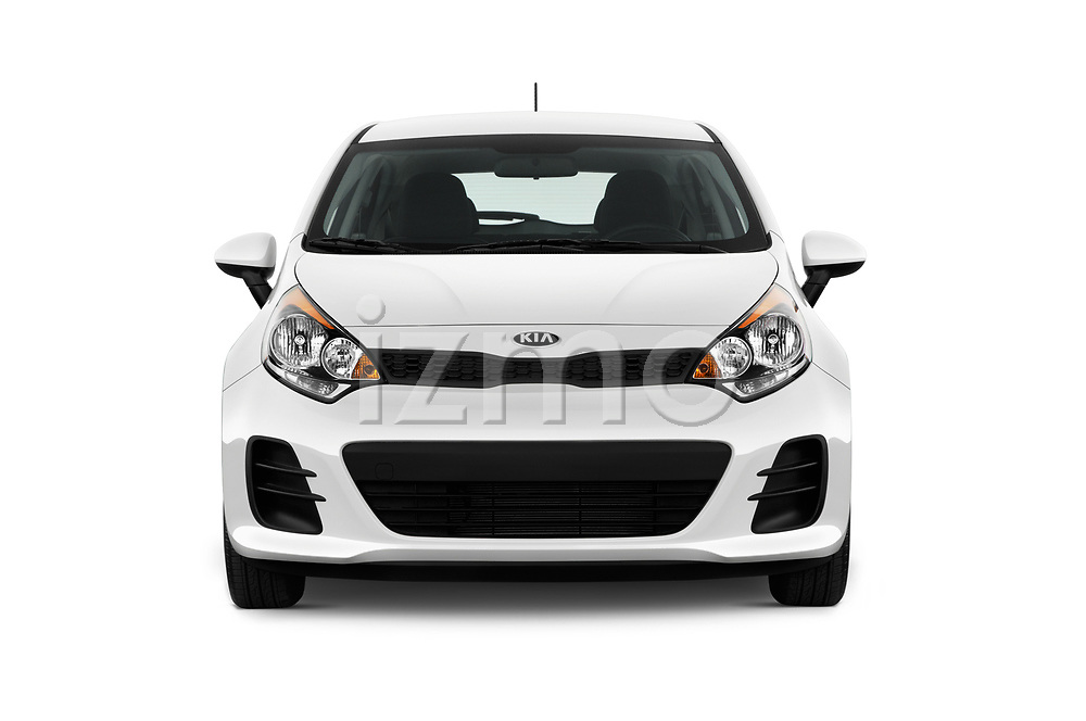 Car photography straight front view of a 2016 KIA Rio LX 5 Door Hatchback Front View