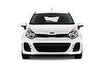 Car photography straight front view of a 2017 KIA Rio LX 5 Door Hatchback Front View