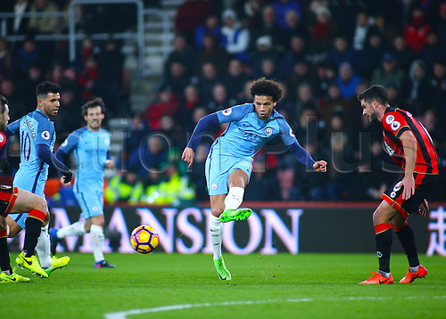 February 13th 2017, Vitality Stadium, Bournemouth, Dorset, England; EPL Premier league football, Bournemouth versus Manchester City; Leroy Sane of Manchester City crosses the ball into the Bournemouth area