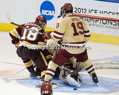Joe Basaraba (Duluth - 18), Parker Milner (BC - 35), Chris Kreider (BC - 19) - The Boston College Eagles defeated the University of Minnesota Duluth Bulldogs 4-0 to win the NCAA Northeast Regional on Sunday, March 25, 2012, at the DCU Center in Worcester, Massachusetts.