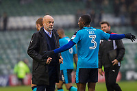 Fleetwood Town manager Uwe Rosler speaks with match-winner Amari'i Bell of Fleetwood Town at full time of the Sky Bet League 1 match between Plymouth Argyle and Fleetwood Town at Home Park, Plymouth, England on 7 October 2017. Photo by Mark  Hawkins / PRiME Media Images.