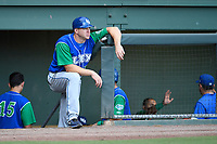 Manager Scott Thorman (35) of the Lexington Legends in the dugout during a game against the Greenville Drive on Sunday, September 2, 2018, at Fluor Field at the West End in Greenville, South Carolina. Greenville won, 7-4. (Tom Priddy/Four Seam Images)