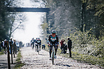 Vital Concept-B&amp;B Hotels recon the cobbles of Arenberg sector before Paris-Roubaix 2019, Wallers, France. 11th April 2019<br /> Picture: ASO/Pauline Ballet | Cyclefile<br /> All photos usage must carry mandatory copyright credit (&copy; Cyclefile | ASO/Pauline Ballet)