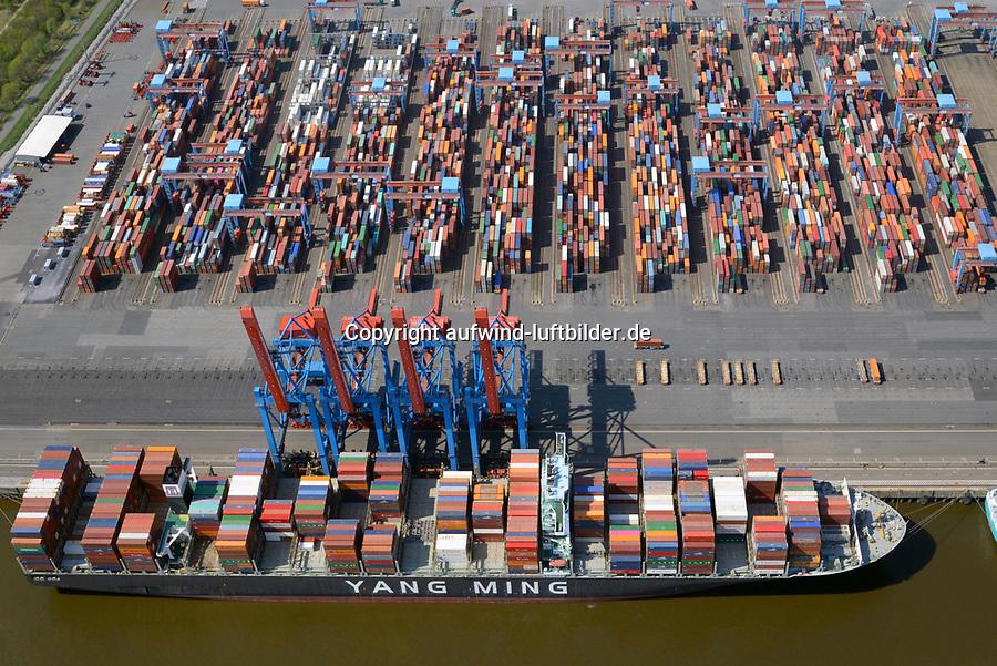Containerterminal Altenwerder Containerschiff der Yang Ming Line: EUROPA, DEUTSCHLAND, HAMBURG, (EUROPE, GERMANY), 20.04.2018 Containerterminal Altenwerder Containerschiff der Yang Ming Line