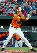 Baltimore Orioles right fielder Seth Smith (12) bats in the eighth inning against the New York Yankees at Oriole Park at Camden Yards in Baltimore, MD on Saturday, April 8, 2017.  The Orioles won the game 5 - 4.<br /> Credit: Ron Sachs / CNP<br /> (RESTRICTION: NO New York or New Jersey Newspapers or newspapers within a 75 mile radius of New York City)