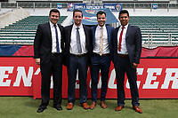 Cary, North Carolina  - Sunday May 21, 2017: Match Officials: Jeremy Weed, John Collins, Rosendo Mendoza, Francisco Bermudez prior to a regular season National Women's Soccer League (NWSL) match between the North Carolina Courage and the Chicago Red Stars at Sahlen's Stadium at WakeMed Soccer Park. Chicago won the game 3-1.