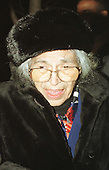 """Washington, DC - File photo from December 4, 1997 -- Civil rights pioneer Rosa Parks arrives at the Warner Theatre in Washington, D.C. for the Washington Premiere of the movie """"Amistad"""" on December 4, 1997.  Ms. Parks passed away at her home in Detroit Michigan on Monday, October 24, 2005.  She was 92 years old..Credit: Ron Sachs / CNP"""