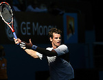 Andy Murray of Great Britain in action against Fernando Verdasco of Spain on day 8 of the Australian Open Tennis , 26-1-09