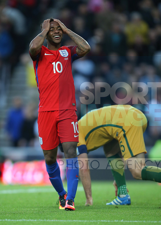 Raheem Sterling of England reacts to a missed chance to score during the International Friendly match at the Stadium of Light, Sunderland. Photo credit should read: Simon Bellis/Sportimage