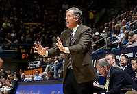 California head coach Mike Montgomery talks with his players during the game against UC Irvine at Haas Pavilion in Berkeley, California on November 11th, 2011.  California defeated UC Irvine, 77-56.