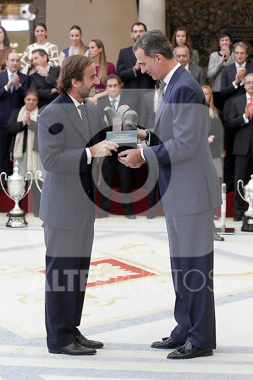 Carlos Sainz Vazquez de Castro, King Juan Carlos, King Felipe VI of Spain, Queen Letizia of Spain, Queen Sofia and Miguel Cardenal, Secretary of State of Sport attend the National Sports Awards 2014 at the El Pardo Palace on November 17, 2015 in Madrid, Spain.(ALTERPHOTOS/Acero)