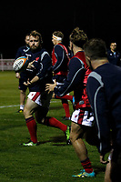 Jonny Harris of London Scottish warms up during the Championship Cup match between London Scottish Football Club and Yorkshire Carnegie at Richmond Athletic Ground, Richmond, United Kingdom on 4 October 2019. Photo by Carlton Myrie / PRiME Media Images