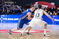 Real Madrid's Sergio Rodríguez and Khimki Moscow's Petteri Koponen during Euroleague match at Barclaycard Center in Madrid. April 07, 2016. (ALTERPHOTOS/Borja B.Hojas) /NortePhoto