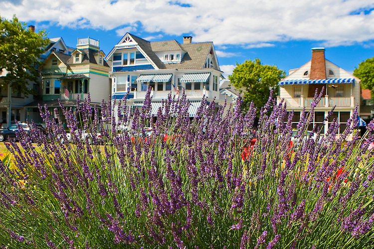 Beautiful victorian houses along Ocean Pathway in the Methodist community of Ocean Grove, New Jersey
