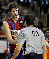 FC Barcelona Regal's Ante Tomic have words with one referee during Liga Endesa ACB match.November 18,2012. (ALTERPHOTOS/Acero) NortePhoto