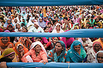 Indian supporters, mainly made of up local village women, attending a political rally for the controversial Chief Minister of Uttar Pradesh and BSP candidate Kumari Mayawati at Palwal in the Indian state of Haryana in the lead up to the Indian Elections beginning on April 16.