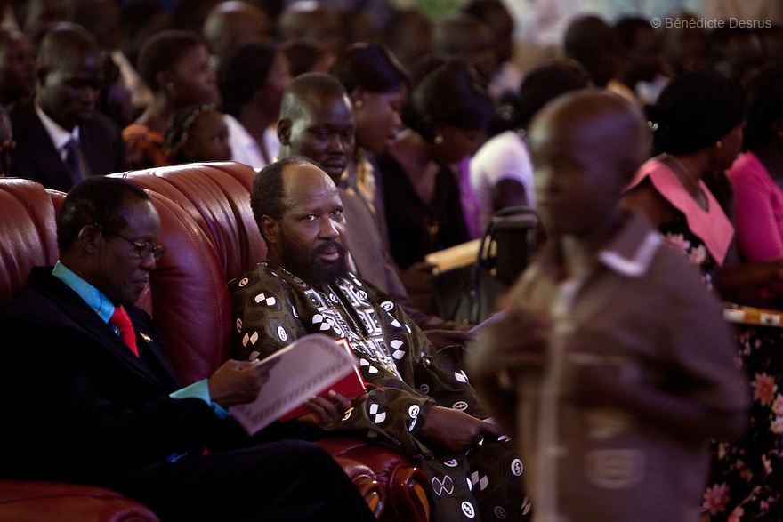 """25 december 2010 - Juba, South Sudan - South Sudan's President Salva Kiir Mayardit attends the Christmas mass at Kator Cathedral in Juba. He wished the people of South Sudan """"Merry Christmas and Happy New Year"""" and said that he did not expect to reach an agreement with the North on post-referendum issues. A referendum for southern independence will be held on January 9 and probably lead to the partition of this nation, the largest on the African continent. Photo credit: Benedicte Desrus"""
