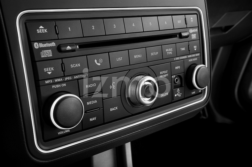 Stereo audio system close up detail view of a 2009 Dodge Journey
