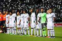 PALMIRA -COLOMBIA-24-02-2016. Jugadores del Cali durante los actos protocolarios previo al encuentro entre Deportivo Cali (COL) y Boca Juniors (ARG) por la fecha 1, G3, de la Copa Bridgestone Libertadores 2016 jugado en el estadio Palmaseca de la ciudad de Palmira./ Players of Cali during the formal events prior a match between Deportivo Cali (COL) and Boca Juniors (ARG) for the date 1, G3, of the Copa Bridgestone Libertadores 2016 played at Palmaseca stadium in Palmira city.  Photo: VizzorImage/ NR /Cont