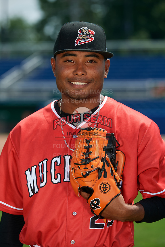 Batavia Muckdogs pitcher Elkin Alcala (28) poses for a photo on July 2, 2018 at Dwyer Stadium in Batavia, New York.  (Mike Janes/Four Seam Images)