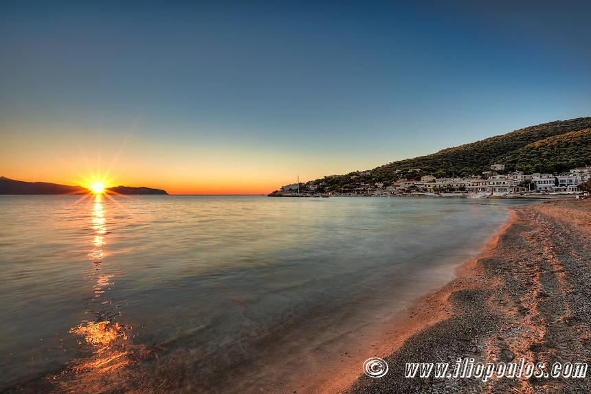 Sunrise at the beach of Skala in Agistri island, Greece