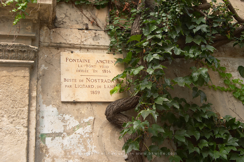 Commemorative plaque marble sign saying Fontaine Ancienne, the old fountain, La Font Vieio, built in 1814, and bust of Nostradamus by Liotard de Lambesc in 1859. Saint Remy Rémy de Provence, Bouches du Rhone, France, Europe